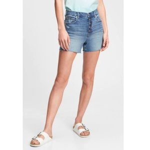 Gap High Rise Distressed Button Fly Jean Shorts